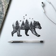 Bear drawing by @alfredbasha #artinspires #theartisthemotive .