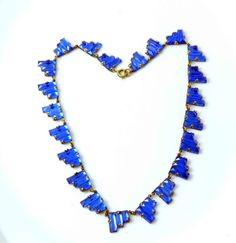 Art Deco Czech Blue Vauxhall Mirror Glass Step Necklace