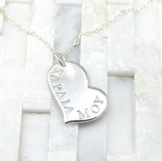 "Heart Stamped Necklace in Greek with ""my heart"" silver, prefect valentine's gift"