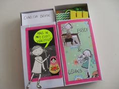 Inspiration: double matchbox snailmail. Glue or tape together 2 matchboxes - one with a letter, one with goodies.