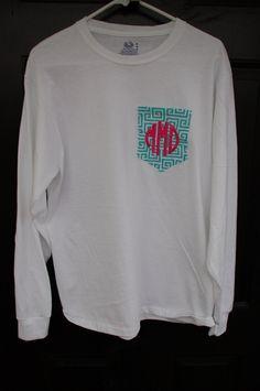 Long Sleeved Monogrammed Fabric Pocket T Shirt/Tee Monogrammed Pocket Tshirt. $21.99, via Etsy.