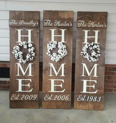 Use cotton wreath on HOME sign