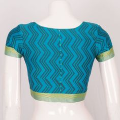 Hand Block Printed Cotton Blouse With Boondi Edging 10024182