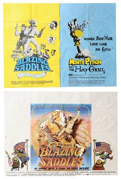 "Lot 33  Film Poster Lot (1975-1975). British Quads (40"" x 30""), comprising: ""Blazing Saddles"" (1974), staining and pin holes; ""Blazing Saddles / Monty Python And The Holy Grail"" (1975). bOTH Single Sided and Folded. Good to Excellent. (2)  Estimate: £30 - £40"