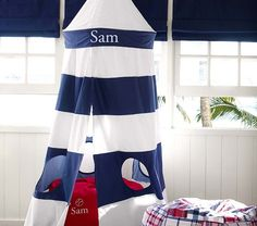 lighthouse tent for a nautical-themed children's room