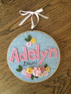 FELT NAME with FLOWERS Personalized Girl's by MissTweedleCrafts