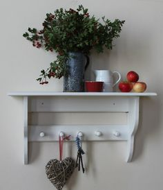 Cottage chic shelf, extra deep, eco-friendly reclaimed pine, hand-turned pegs FREE POSTAGE by GoodwoodOriginals on Etsy https://www.etsy.com/listing/200857888/cottage-chic-shelf-extra-deep-eco