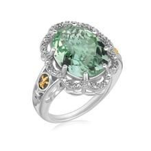 18K Yellow Gold and Sterling Silver Decorative Green Amethyst Ring (.03 ct. tw.) P150-89768-9