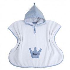Lakrao Badeponcho in Weiss-Blau mit Krone personalisiert