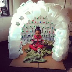 Little reading nook made from recycled milk jugs.