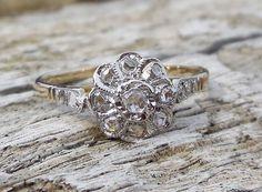 Vintage Antique Rose Cut Diamond Unique Engagement Ring 18k Yellow & White Art Deco Art Nouveau Victorian by DiamondAddiction on Etsy