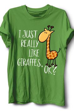 I Just Really Like Giraffes, Okay? Adorable design for the ultimate giraffe lover. Those ungulates are super cute animals with awesome coat patterns. Makes a great birthday gift or Christmas present for true Africa safari fans of that wildlife animal. If you ask me, life is better with a giraffe baby. I love giraffes, giraffe is my spirit animal. Add this cute exotic animal apparel to your fancy collection of giraffe stuff. A beautiful give-away for true giraffelover! Cute Giraffe Drawing, Giraffe Baby, Super Cute Animals, Great Birthday Gifts, Coat Patterns, My Spirit Animal, Giraffes, Pet Clothes, Exotic Pets