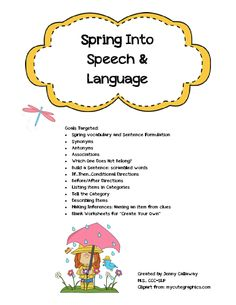 Spring Into Speech/Language Packet ~ by Jenny C - SLP