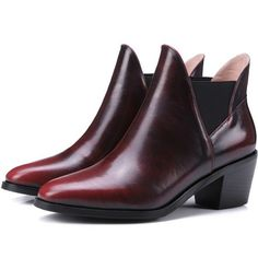 82.00$  Watch here - http://ali9si.worldwells.pw/go.php?t=32700224720 - Autumn Winter fashion 24.5cm plus size Full grain leather women med chunky heel ankle boots shoes woman 2016 fashion short boot 82.00$