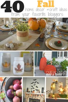 Such an amazing list of fall ideas! 40 fall home decor & craft ideas from bloggers. So many great ideas and all with ways to make it happen in your home!