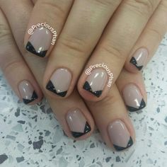 Nude french with the black chevron nails