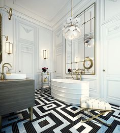 Black and white maze-like tiled floors, a chandelier with petals, and an oversized mirror are just a few of the geometric elements that comprise this stunning bathroom.