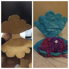 DIY cardboard sea shell. I made this sea shell/clam out of a cardboard box. Then i covered it in tissue paper and put pretty bead necklaces inside. Diy seashell. Diy clam. Cardboard seashell. Under the sea birthday.
