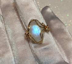 FLASHY Rainbow Moonstone Ring 14k Yellow gold Fill by craftylady6