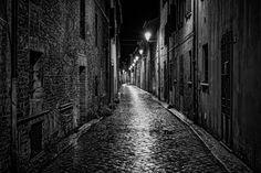 Photo Black street by Olivier Ferrari Photo Black, Pendant Lighting, Serenity, Landscape Photography, Ferrari, Lights, Street, Art, Italia