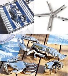 silver sea life and trivet