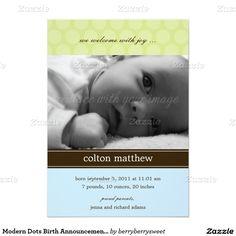 Modern Dots Birth Announcement - Blue