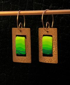 Etched copper with polymer clay inlay