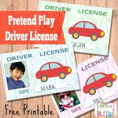 Printable Licenses and ID Cards For Kids Free Printable Kids ID Cards & Licences - Itsy Bitsy FunFree Printable Kids ID Cards & Licences - Itsy Bitsy Fun Transportation Theme Preschool, Preschool Themes, Preschool Classroom, Preschool Art, Classroom Ideas, Dramatic Play Centers, Creative Curriculum, Toddler Activities, Toddler Games