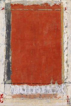 Marilyn Jonassen, Orange Field, Black Stripe, 2008, encaustic on clay board, 24in x 36in x 2in