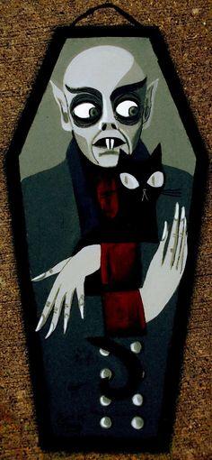 El Gato Gomez Painting Retro Nosferatu Vampire Dracula Vintage Horror Gothic Cat | eBay