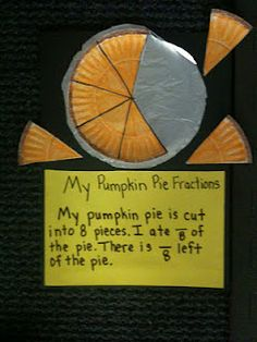 """My Pumpkin Pie Fractions """"I can eat 3/8 pie in one hour.  How ,uh can I eat in 15 minutes?  3/8 x 1/4"""