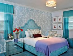 Turquoise ad blue teen girls room with mirrored jeweled accents. Amazing!!!