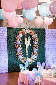 Fairy backdrop from a Flitting Fairy Garden Birthday Party on Kara's Party Ideas | KarasPartyIdeas.com (8)