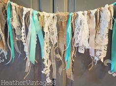 Vintage Wedding & Party Lace Burlap Garland, Alice in Wonderland, Birthday, Tea Party Garland,