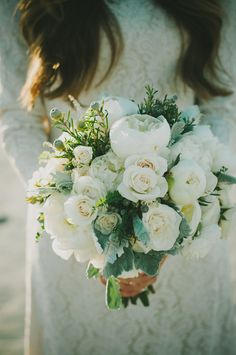 Mountain Wedding, white bouquet, lace dress, peonies, dusty miller