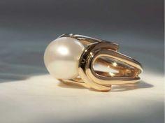 Bague Anna or jaune perle south sea 1
