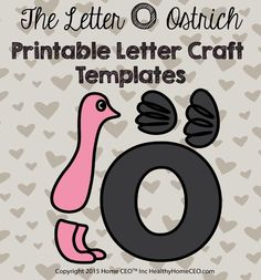 The Letter O Ostrich printable letter craft template by Home CEO. In color and black and whote