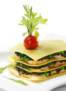 Lasagna with salmon, shrimp and spinach - national Italian food recipes