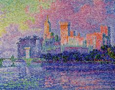 Paul Signac was an Impressionist Pointillist. This piece is called Le Palais Palace, Avignon, 1900. You can see the pointillist technique in this piece, but also the influence of Monet in the handling of composition and color here. You can see the Fauvists were inspired Signac's use  of color from this painting.