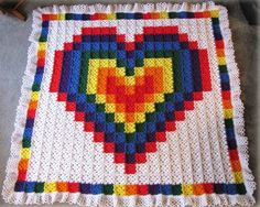 Crochet For Children: Technicolor Heart Crochet Quilt - Free Pattern