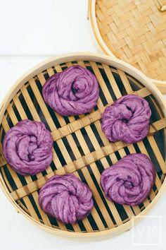 Vegan Steamed Purple Potato & Chia Buns