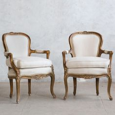 Pair of Deep Gold with Gilt Vintage Armchairs