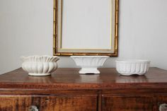 Vintage White Planters by PlaceMichel on Etsy