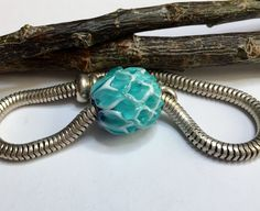Lampwork Glass Large Hole Teal White and Lapis Blue Lotus Flower Bead fits Pandora Bracelet - Made to Order