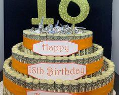 Birthday Money Cake   Etsy Birthday Money, Special Birthday, Birthday Ideas, Unique Birthday Gifts, Gifts For Wedding Party, Cake Table Birthday, 50th Cake, Cake Show, Money Cake