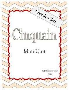 This cinquain mini unit is a great resource for teaching the format for writing word count cinquain poems as well as giving strategies for following the set format. It includes an anchor chart to support instruction and help students visualize and review the format.