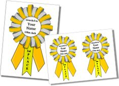 Printable award ribbons, free printable award ribbon templates, award ribbon maker, and printable prizes to personalize and print for free