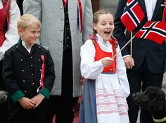 royalwatcher:  The Norwgian Royal Family celebrates National Day on the 200th anniversary of the Norwegian Constitution, May 17, 2014-Prince Sverre Magnus and Princess Ingrid Alexandra
