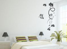 Vine Flower with Butterfly mural decals wall sticker for interior decor nature floral tree vine beautiful leaf wall Y040