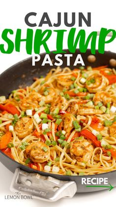 Shrimp Recipes For Dinner, Shrimp Recipes Easy, Cajun Recipes, Cooking Recipes, Healthy Recipes, Garlic Shrimp Recipes, Easy Rice Noodle Recipes, Light Pasta Recipes, Veggie Pasta Recipes